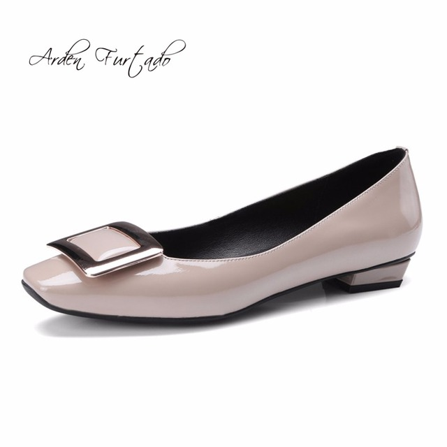 Arden Furtado 2018 winter genuine leather hoof heels square toe fashion  shoes for woman high heels 2a09877df189