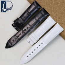 Pesno Alligator Skin Leather Watch Strap 17mm18mm Black White Women Accessories Watch Band Suitable for Jaeger-LeCoultre