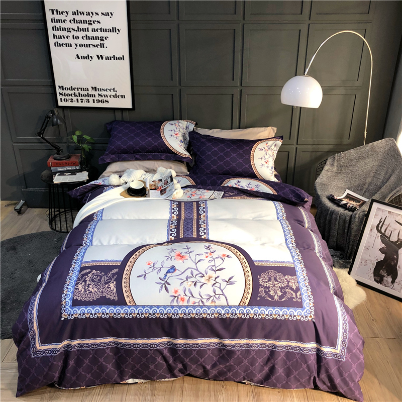 100% Cotton Printed Oriental Classical Bedding set High-quality 4pcs Duvet Cover set Bed Sheet <font><b>Pillowcases</b></font> Queen King Size image