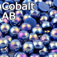 Cobalt AB Dark Blue Half Round bead Mix Sizes 2mm 3mm 4mm 5mm 6mm 8mm imitation ABS Flat back Pearl DIY Nail jewelry Accessory(China)