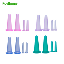 4Pcs Health Care Premium Transparent Silicone Cupping Set  Medical Vacuum Silicone Massage Cups Therapy Cellulite