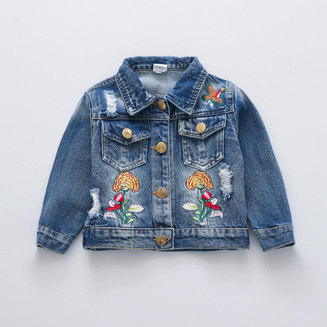 edc1b3338 Fashion Autumn Baby Girls Infants Embroidery Flower Hole Washed Denim Jeans  Jacket Cardigan Kids Outwear Coat Casaco Tops S5871