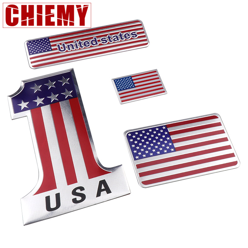 United States USA Flag Aluminum Alloy Emblem Badge Sticker American National Map Car Stickers Motorcycle Auto Decor Decals