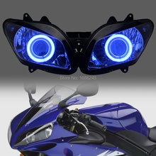 Мотоцикл 35 Вт HID проектор фара в сборе белый Ангел синий Демон глаза подходит для Yamaha YZF R1 2002-2003