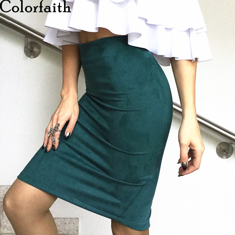 Multi colors 2017 Women Skirt Winter Solid Suede Work Wear Package Hip Pencil Midi Skirt Autumn Winter Bodycon Femininas SP012 1