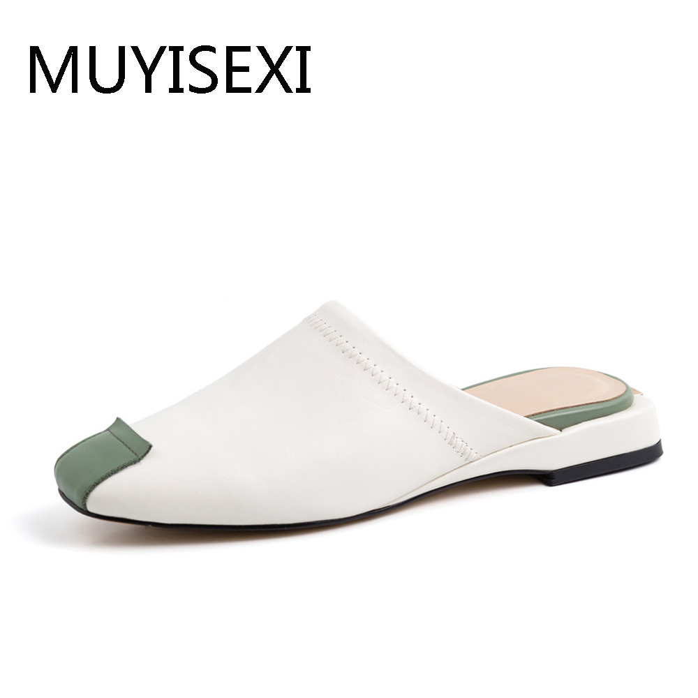 Flat Brand Mules Full Genuine Leather Shoes Women Casual Comfortable Slippers White 34 40 MMS06 MUYISEXI