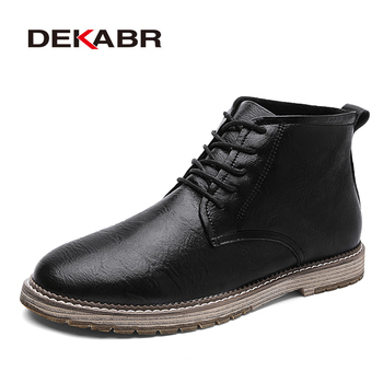 DEKABR Pu Leather Men Waterproof Boots Autumn Men Casual Shoes Fashion Ankle Boots For Men High Top Winter Men Shoes Size 47