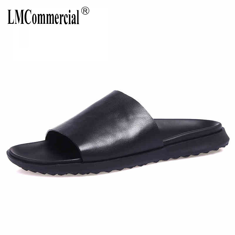 summer Genuine Leather sandals Sneakers Men Slippers Flip Flops casual Shoes beach outdoor all-match cowhide men's Leisure summer men s slippers leather breathable doug british leisure sandals lazy sneakers men flip flops casual shoes beach outdoor