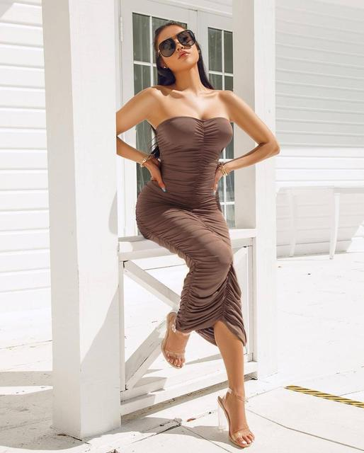 Long ruched black bodycon dress