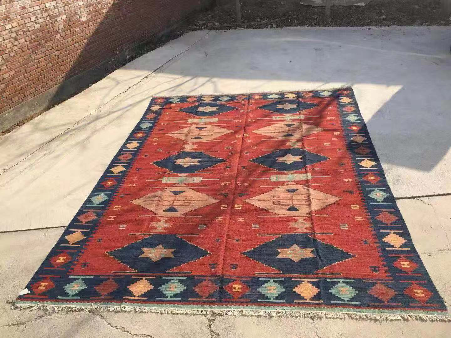 Tapis Style Kilim Kilim 100 Wool Handmade Carpet Geometric Indian Rug Plaid Striped