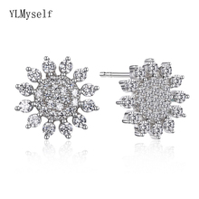 Real 925 fine earrings cz crystal stone jewelry nice jewellery Accessories sterling silver snowflake stud earring for women