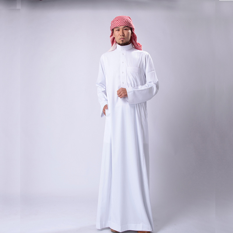 Wholesale Muslim Men White Long Sleeve Thobe Dress Men Islamic Clothing Plus size XXL Saudi Arab Moslim Jurk
