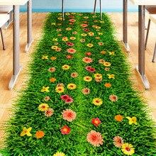 [SHIJUEHEZI] 3D Verde Césped Piso Pegatina Decoración for Living Room Decoración Cuarto de Baño Material de Vinilo Removible etiqueta de Arte de La Pared