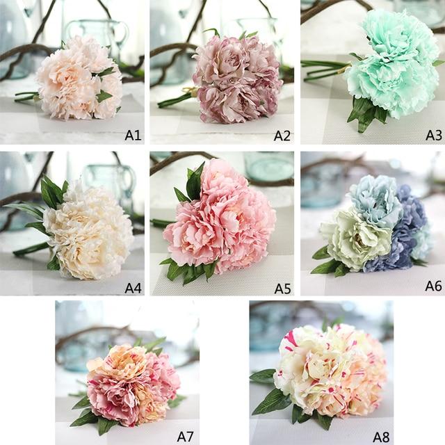Kunstliche Blumen Hortensien 5 Kopfe Franzosisch Pfingstrose