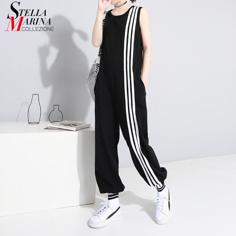 2018 Korean Style Women Sleeveless Romper   Jumpsuit   Full Length Striped Stretch Cuff Female Casual Wear Long Overalls Pants 3644