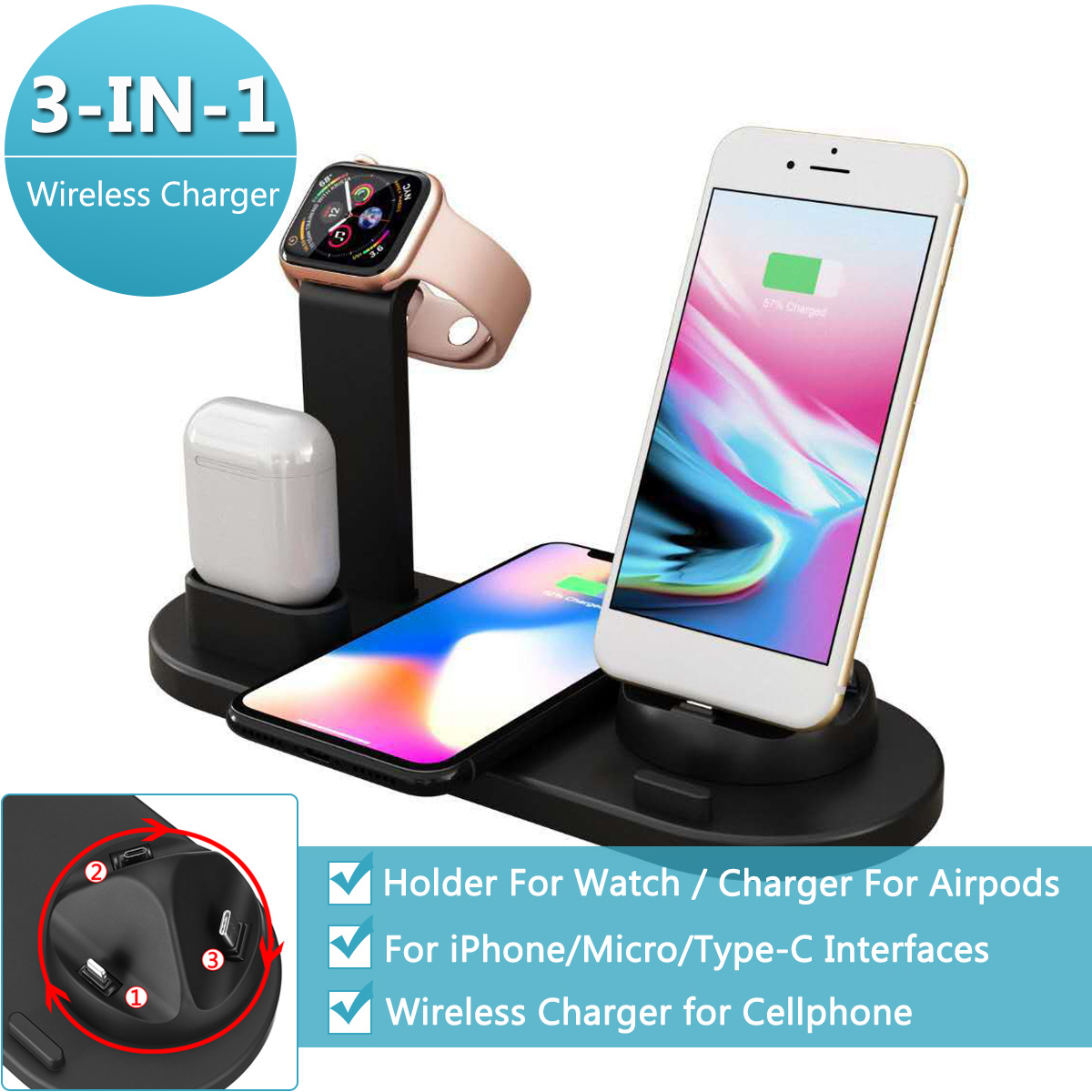 3 in 1 Qi Wireless Charging Induction Charger Stand for iPhone X XS Max XR for Airpod for Apple Watch Docking Dock Station 4in1 image