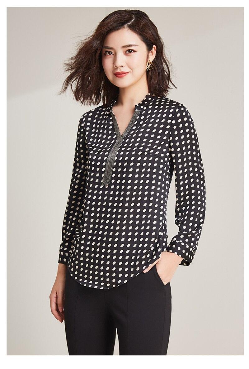 2019 nueva moda 100% poliéster suave telas finas mujeres puntos impresión camisetas Vneck manga larga Camisetas talla grande L 6XL - 4