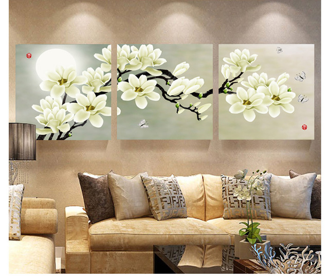 3pcs unframed magnolia flower canvas painting material for Magnolia living room ideas