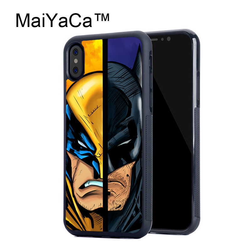 MaiYaCa Wolverine vs Batman Printed Rubber Case For iPhone X Soft TPU Back Cover For iPhone X Pattern Case Fundas