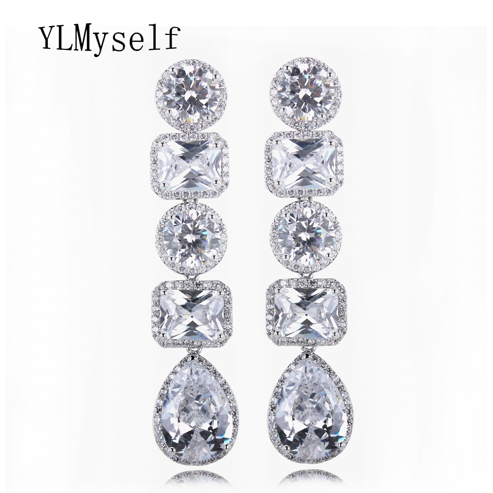 Leaf Shape Luxury Woman Drop Earrings Clear Color AAA Cubic Zirconia Prong Setting Banquet Party Present