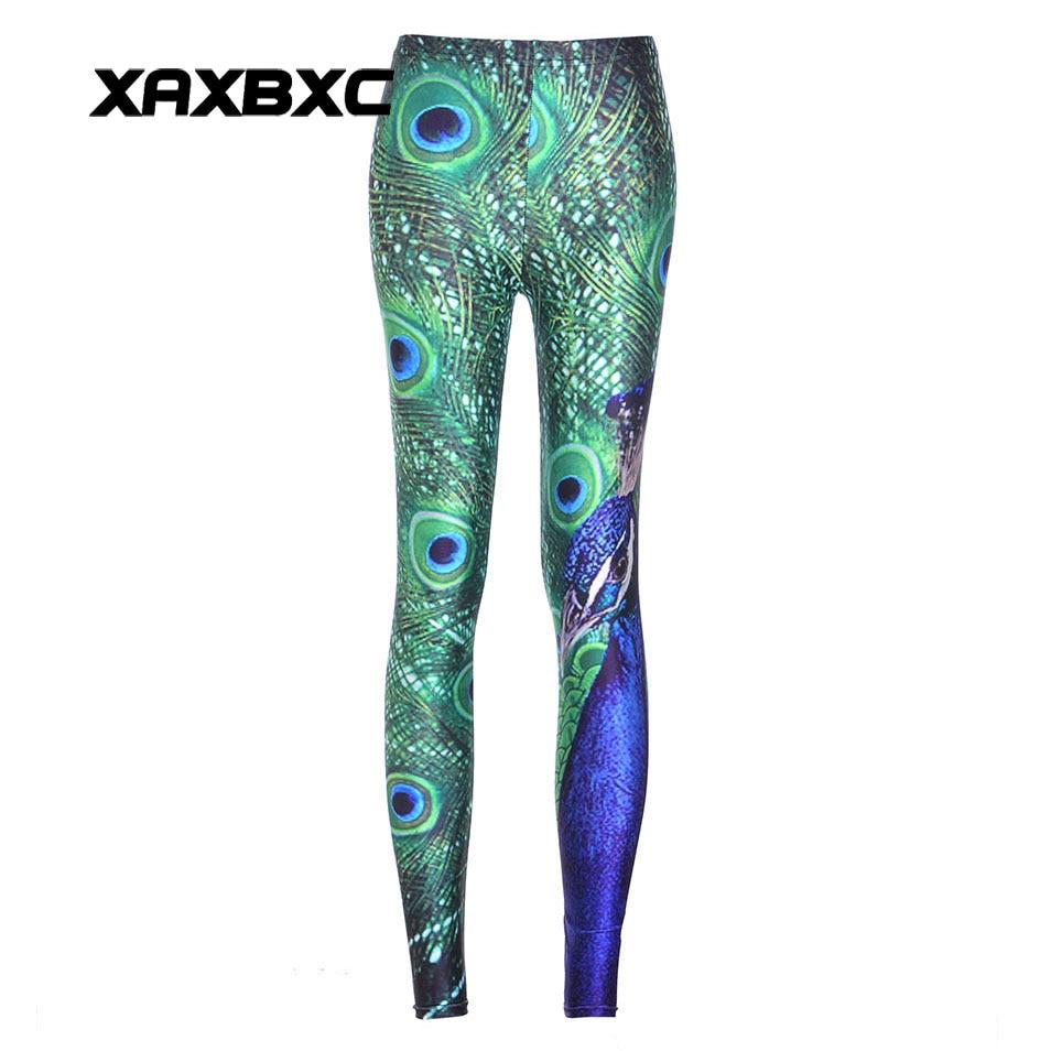 XAXBXC 3605 Fashion Animal Peacock Feathers tail Prints Sexy Girl Pencil Pants Strech Slim Fitness Women Leggings Plus Size
