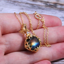 Gold S925 Sterling Silver Jewelry Natural Labradorite Stone Necklace Pendant For Women Gift Blue Gemstone Handmade bijoux femme