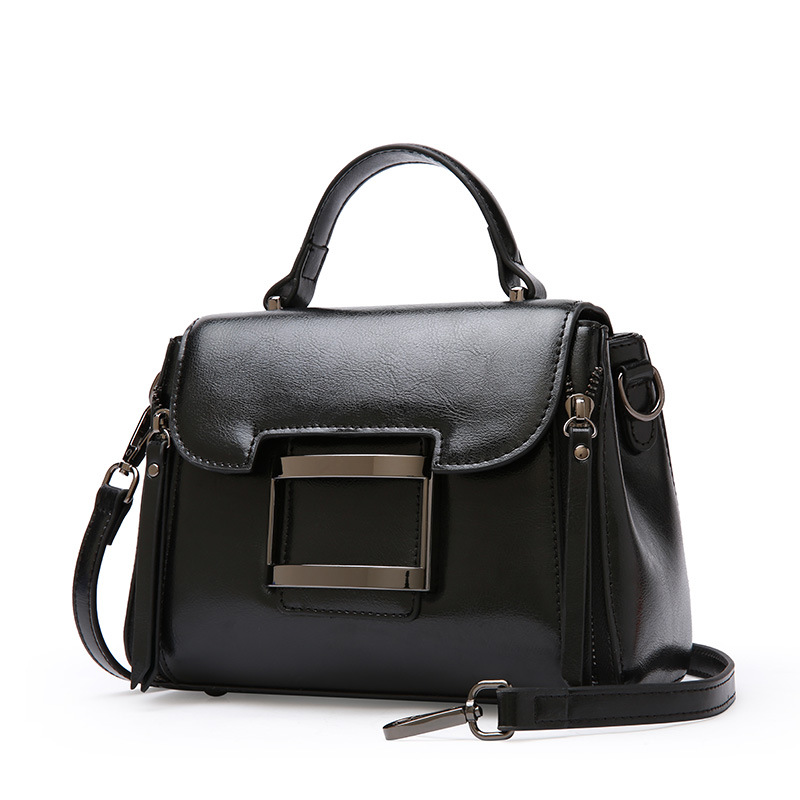 Women 39 s new leather cross section square handbag fashion casual oil wax leather shoulder Messenger bag in Top Handle Bags from Luggage amp Bags