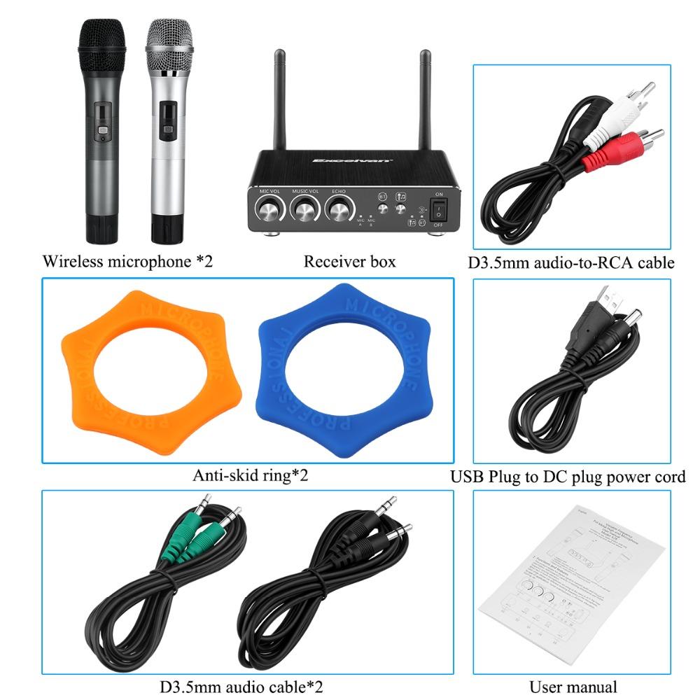 Prix pour Excelvan K28 Microphone Sans Fil Karaoké Microphone Double Mini Portable Sans Fil Bluetooth Microphone Pour PC Haut-Parleur Extérieur KTV