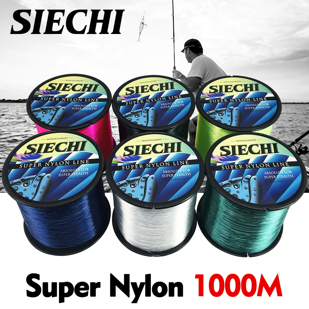 SIECHI Nylon Line Super Strong Nylon Fishing Line 1000M Monofilament Line Japan Material Fishline for Carp fishing