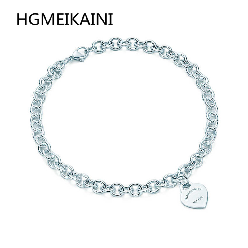 TIFF100 % 925 en argent sterling chaîne de clavicule 1:1 véritable charme de coeur classique logo argent ms 45 ~ 90 cm collier à faire soi-même