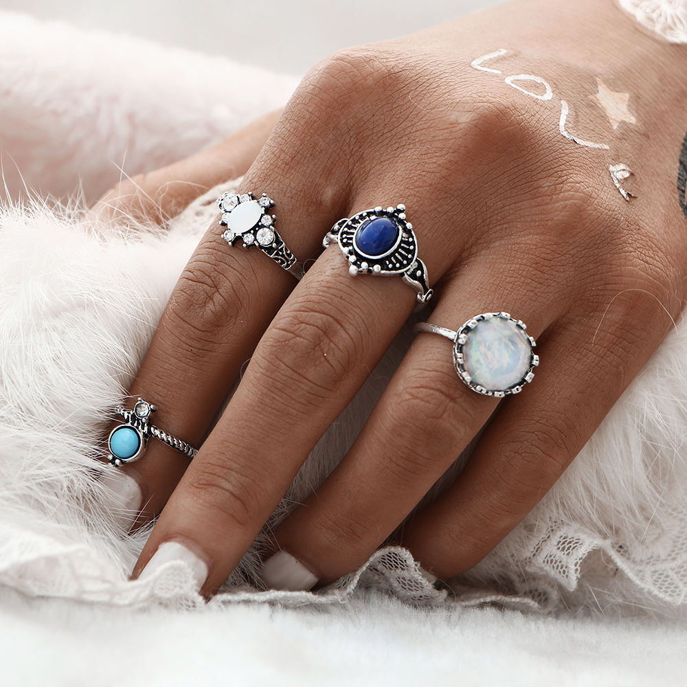 Fashion New 4pcs/Set Silver Color Stone Midi Ring Sets for Women Boho Beach Vintage Turkish Punk Knuckle Ring Jewelry