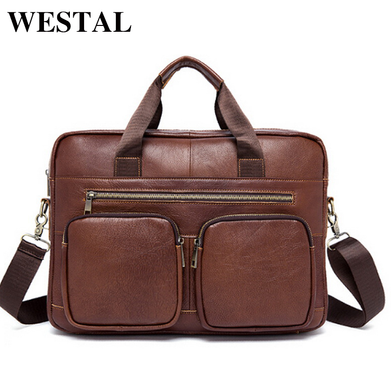 WESTAL Men Messenger Bags Genuine Leather Men Bag Mens Briefcases Handbags Leather Laptop Bag Male Shoulder Crossbody Bags 8802 lacus jerry genuine cowhide leather men bag crossbody bags men s travel shoulder messenger bag tote laptop briefcases handbags