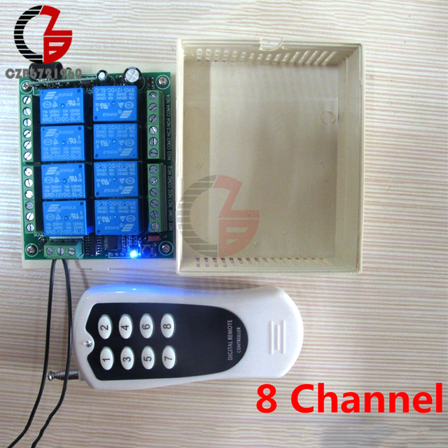 US $10 83 10% OFF DC 12V 8 Channel Wireless Digital Remote Controller  Switch Relay Board 315MHz 30mA 1000m RF Control Transmitter + Receiver-in