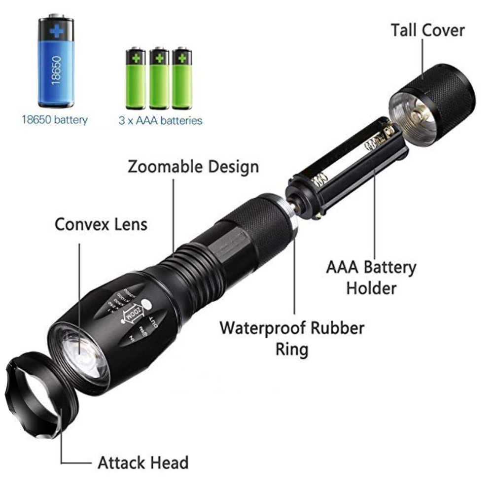 E17 LED taktik el feneri Torch USB şarj edilebilir T6 + 18650 zumlanabilir bisiklet flaş ışığı bisiklet lambası balıkçılık kamp için