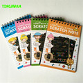 4 Sets/lot 14*10cm Magic Scratch Art Note book Scraping Drawing Notebook Children Baby Doodle Toys