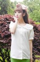 Sevimli Japon bluz donanma tiki tarzı gömlek büyük yaka gömlek yaz kısa kollu denizci yaka bluz kadınlar lolita bluzlar