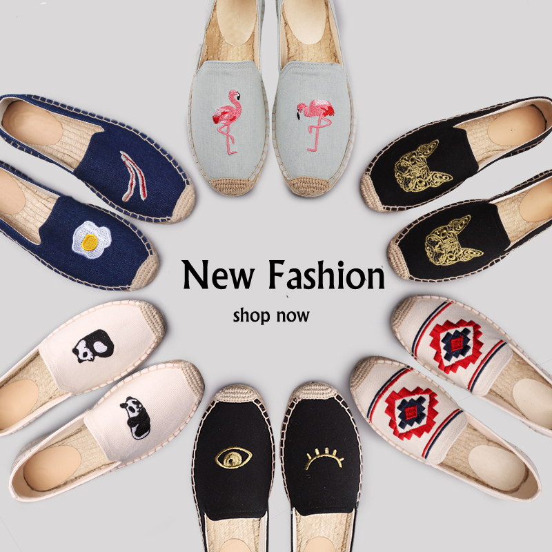Womens Espadrille loafers Alpargatas Embroider Shoes Comfortable Slippers Womans Casual Shoes Breathable Flax Hemp CanvasWomens Espadrille loafers Alpargatas Embroider Shoes Comfortable Slippers Womans Casual Shoes Breathable Flax Hemp Canvas