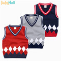 Jiuhehall 3-7 Years Preppy Style Children's Sweater Vest Kids Knitted Sweater V-Neck Diamond Patchwork Pullover For Baby CMB221