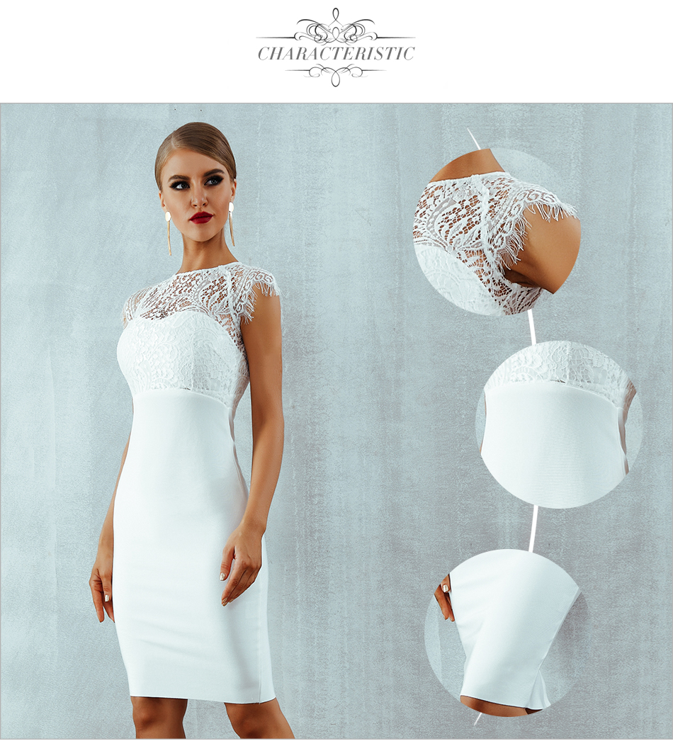 Adyce 2018 New Summer Women Bandage Dress Vestidos Sexy White Lace Short Sleeve Hollow Out Midi Club Dresses Evening Party Dress 4
