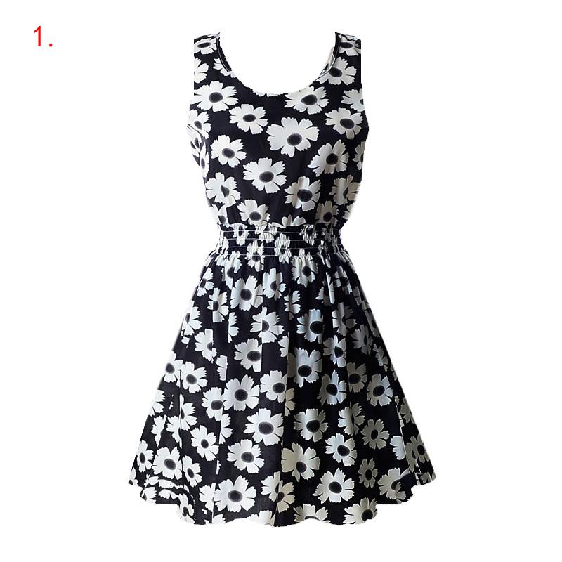 Sexy kobiety chiffon dress sundress plaża floral bez rękawów tank mini sukienki vestido 3