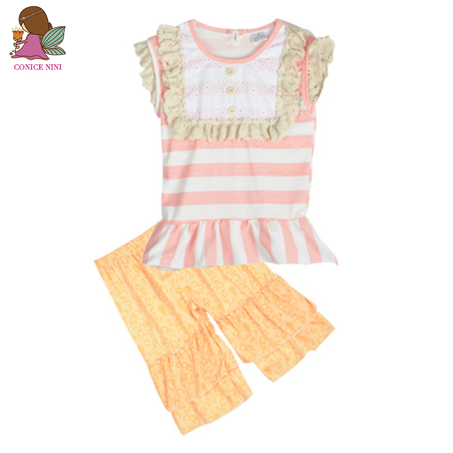 Cupcake Colored Baby Clothes Pink Striped Top Lace Decor Chest Cute Printing Ruffle Capris Summer Girls Clothing Sets S072