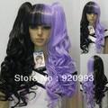 free P&P******* Lolita clip on ponytail long wavy curly mix half black purple full wig