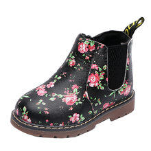 Cute Print Girls Boots Fashion Floral Boots Kids elegant Martin Boots warm Casual Children shoes #NEW(China)