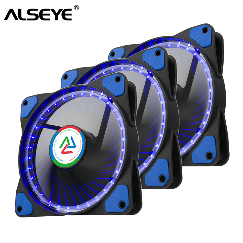 ALSEYE 120mm Computer Fan Cooler LED PC Fan 3 pieces 12V 3pin Case Cooling Fan 120x25mm 120mm fan 12v dc brushless pc computer case cooler 3pin connector cooling fan for cpu radiating for desktop pc