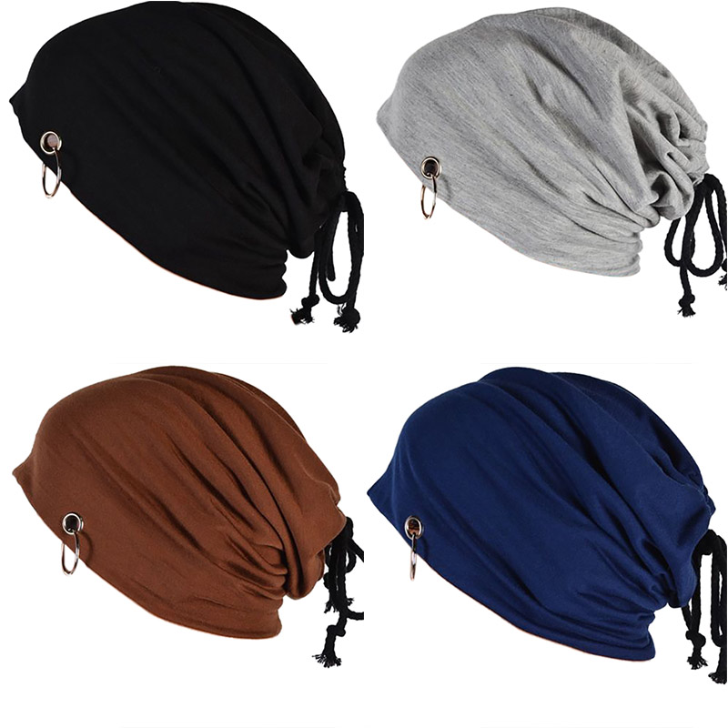 Unisex Matel Ring Knitted Winter Cap Women Men Casual Drawstring   Beanies   Solid Color Hip-hop Snap Slouch   Skullies     beanie   Hat