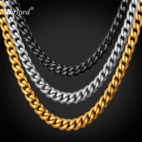 6MM Stainless Steel Cuban Link Chain Necklace For Men Wholesale 18K Stamp Black Gun Real Gold