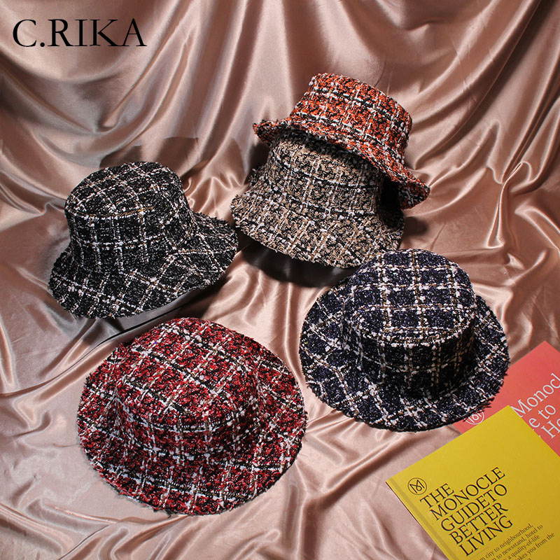 74c0332124b Detail Feedback Questions about 2018 Fashion Autumn Winter Women Tweed Hats  Bucket Hat Caps Chic Plaid 5 Colors Fisherman Panama Knitted Bucket Hat on  ...