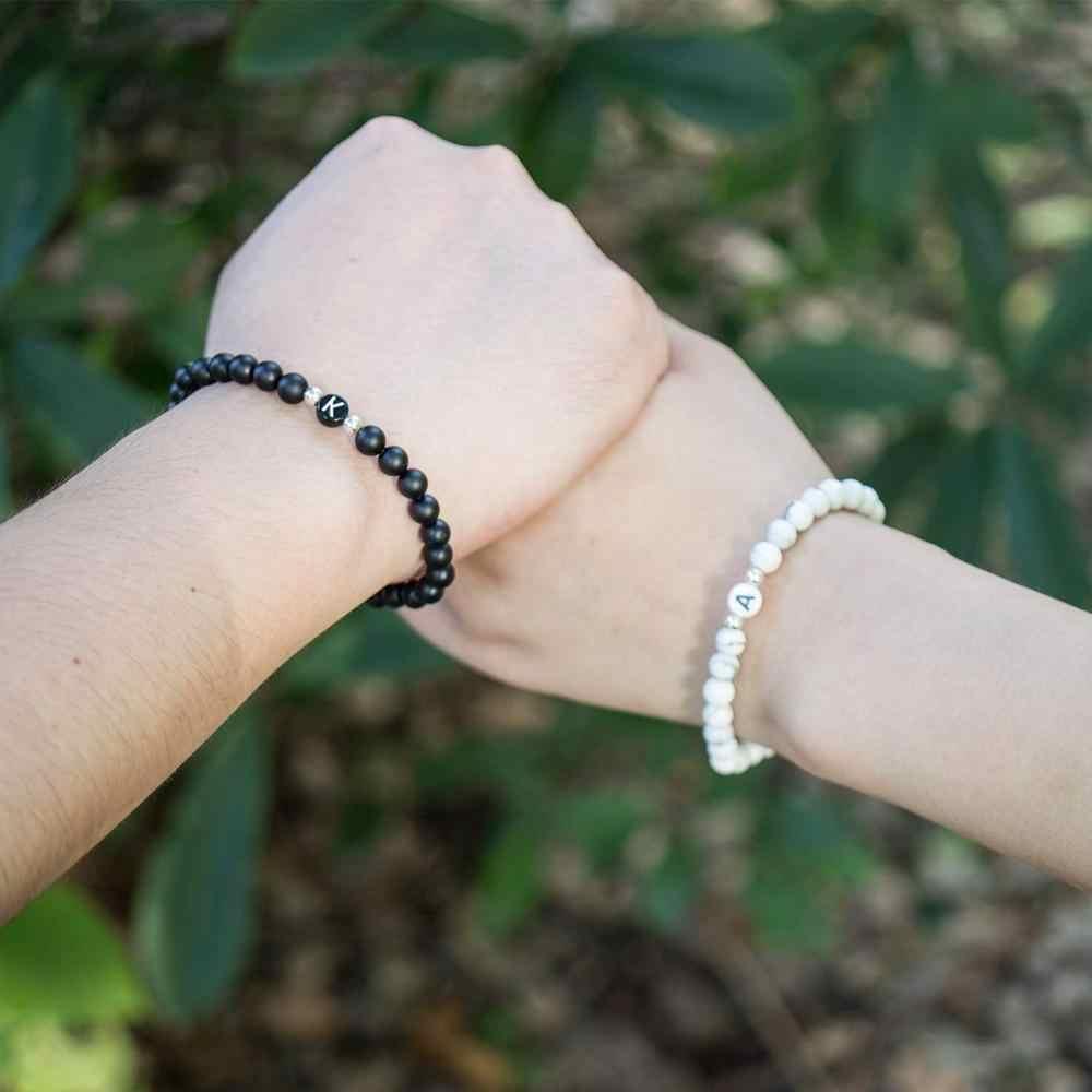 Chữ Cặp Đôi Vòng Tay Đá Tự Nhiên Vòng Tay Nam Nữ A-Z 26 Chữ Cái Vòng Tay 6MM Mờ Đen Onyx vòng tay