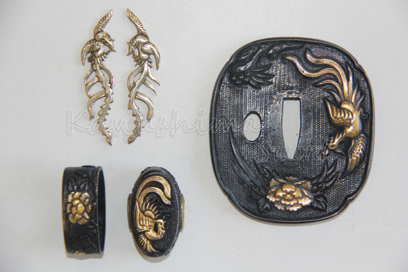 феникс фурнитура - Nihonto Metal Fittings  Set Japanese Samurai Sword Tsuba Fuchi Kashira Menuki Phoenix Design Brand New Supply