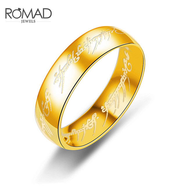 Lotr Stainless Steel Ring Men Gold Silver Black Color Letters Rings for Lovers W